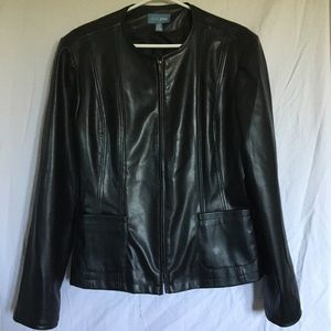 TRES YOU Faux Leather Black Jacket Sz Large